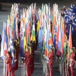 Aug 12, 2012; London, United Kingdom; The flagbearers assemble during the Closing Ceremony for the London 2012 Olympic Games at Olympic Stadium. Mandatory Credit: John David Mercer-USA TODAY Sports