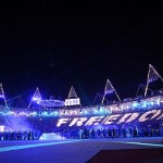 Aug 12, 2012; London, United Kingdom; A general view during a performance of Freedom 90 and White Light during the Closing Ceremony for the London 2012 Olympic Games at Olympic Stadium. Mandatory Credit: Matt Kryger-USA TODAY Sports