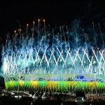 Aug 12, 2012; London, United Kingdom; Fireworks explode above Olympic Stadium during the closing ceremonies of the London 2012 Olympic Games. Mandatory Credit: Christopher Hanewinckel-USA TODAY Sports