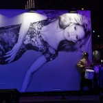 Aug 12, 2012; London, United Kingdom; A giant billboard of a British supermodel is displayed during the Closing Ceremony for the London 2012 Olympic Games at Olympic Stadium. Mandatory Credit: Rob Schumacher-USA TODAY Sports