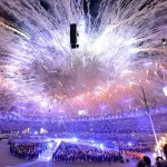 Aug 12, 2012; London, United Kingdom; A general view as fireworks explode during the Closing Ceremony for the London 2012 Olympic Games at Olympic Stadium. Mandatory Credit: John David Mercer-USA TODAY Sports