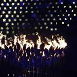 Aug 12, 2012; London, United Kingdom; The Olympic flame burns during the Closing Ceremony for the London 2012 Olympic Games at Olympic Stadium. Mandatory Credit: Rob Schumacher-USA TODAY Sports
