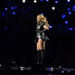 Feb 3, 2013; New Orleans, LA, USA; Beyonce performs during the halftime show in Super Bowl XLVII between the San Francisco 49ers and the Baltimore Ravens at the Mercedes-Benz Superdome. Mandatory Credit: Kirby Lee-USA TODAY Sports
