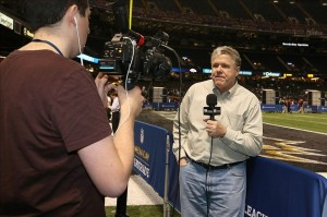 Jan 29, 2013; New Orleans, LA, USA; Sports illustrated sports writer Peter King reports during the Baltimore Ravens media day in preparation for Super Bowl XLVII between the San Francisco 49ers and the Baltimore Ravens at the Mercedes-Benz Superdome. Mandatory Credit: Matthew Emmons-USA TODAY Sports