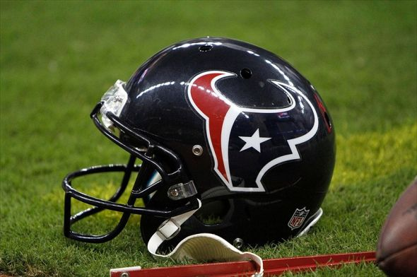 Aug 30, 2012; Houston, TX, USA; Houston Texans helmet on the sidelines against the Minnesota Vikings in the fourth quarter at Reliant Stadium. The Texans defeated the Vikings 28-24. Mandatory Credit: Brett Davis-USA TODAY Sports