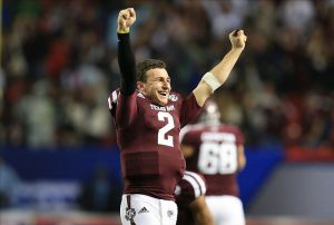 Dec 31, 2013; Atlanta, GA, USA; Texas A&M Aggies quarterback Johnny Manziel (2) reacts to a fourth-quarter interception against the Duke Blue Devils in the 2013 Chick-fil-A Bowl at the Georgia Dome. Mandatory Credit: Daniel Shirey-USA TODAY Sports