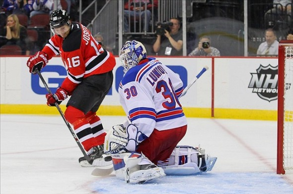 Sep 16, 2013; Newark, NJ, USA; New York Rangers goalie Henrik Lundqvist (30) makes a save on New Jersey Devils center Jacob Josefson (16) during the second period at Prudential Center. Mandatory Credit: Ed Mulholland-USA TODAY Sports