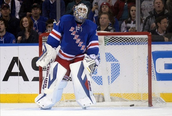 Dec 8, 2013; New York, NY, USA; New York Rangers goalie Henrik Lundqvist (30) reacts after giving up a penalty shot goal to the Washington Capitals during the second period at Madison Square Garden. Mandatory Credit: Joe Camporeale-USA TODAY Sports