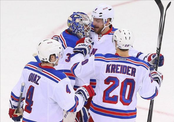 Lundqvist (30) on his 2-0 shutout win over Mandatory Credit: Ed Mulholland-USA TODAY Sports