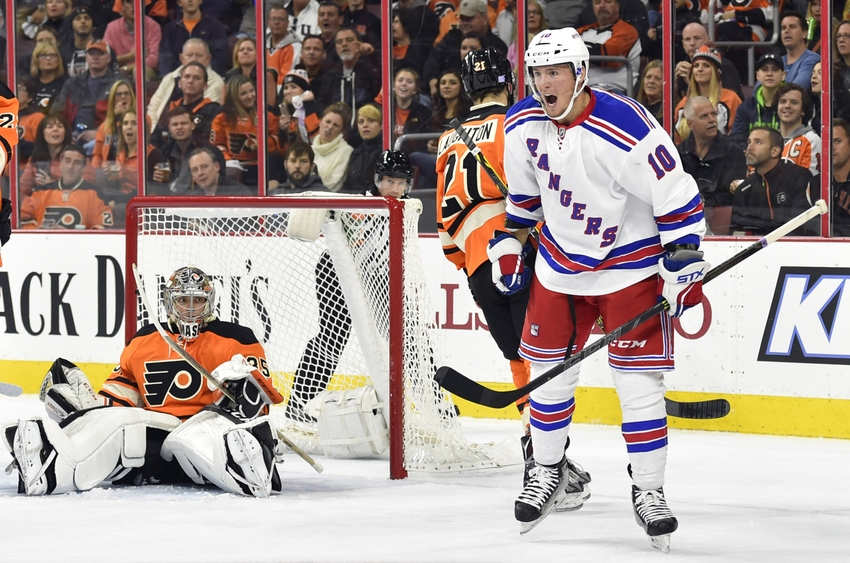 Oct 24, 2015; Philadelphia, PA, USA; New York Rangers center J.T. Miller (10) celebrates after scoring a goal during the first period against Philadelphia Flyers goalie Steve Mason (35) at Wells Fargo Center. Mandatory Credit: Derik Hamilton-USA TODAY Sports