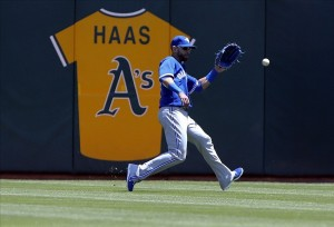 The A's have honored past owner, Walter Haas, with a jersey on the rightfield wall. Credit: Kelley L Cox-USA TODAY Sports