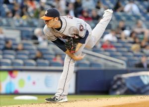 Apr 30, 2013; Bronx, NY, USA; Houston Astros pitcher Phil Humber throws a pitch against the New York Yankees during the game at Yankee Stadium. Mandatory Credit: John Munson/THE STAR-LEDGER via USA TODAY Sports