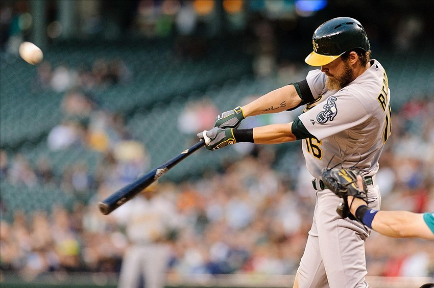 The A's made it official that right fielder Josh Reddick agreed to terms on a new one-year deal with the team. Credit: Steven Bisig-USA TODAY Sports