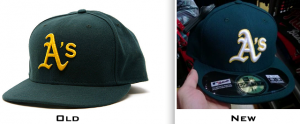 The A's road cap has been replaced with a newer version featuring a white A's emblem outlined in gold.