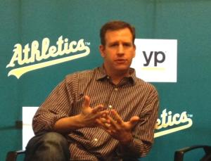 Asst GM David Forst speaks to a group of bloggers at A's FanFest.
