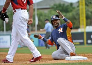 The Astros will use their batting practive jersey as an alternate. The design brings back the rainbow-tequila sunrise design fro the late 70s and 80s. Credit: Steve Mitchell-USA TODAY Sports