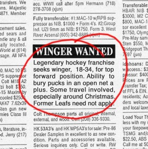 winger wanted