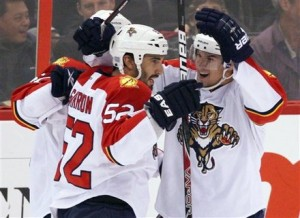 Jason Garrison has been doing a lot of celebrating so far this season. Photo Source: Fred Chartrand AP/Canadian Press