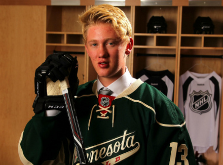 Drafted 46th overall, defenseman Gustav Olofsson poses for one of several draft day photographs as the newest member of the Minnesota Wild. Mandatory Credit: www.hockeysverige.se