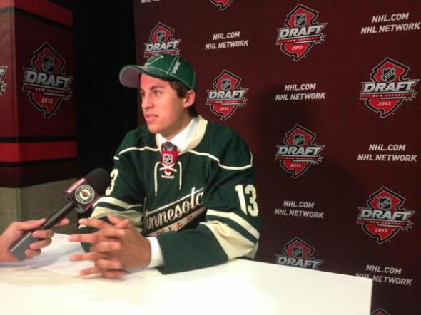 Grand Rapids High School forward Avery Peterson talks with the press after being selected by the hometown Minnesota Wild in the sixth round of the 2013 NHL Entry Draft. Mandatory Credit: Minnesota Wild PR
