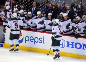 Minnesota Wild wing Charlie Coyle celebrates after scoring against the Avalanche