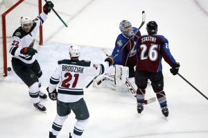 Minnesota Wild centerman Kyle Brodziak celebrates his goal against the Avalanche on Thursday
