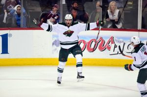 Marco Scandella celebrates his short handed goal in the 3rd period of Game 2 against Colorado
