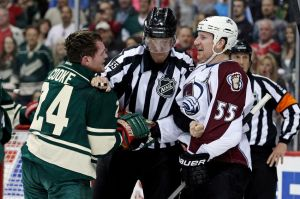"Minnesota Wild winger Matt Cooke has a ""discussion"" with Cody McLeod of the Avalanche"