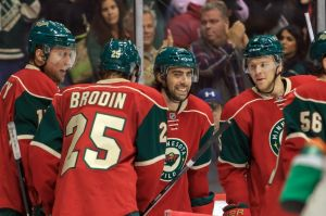 The Minnesota Wild's Matt Moulson celebrates his game winning goal against the St. Louis Blues Thursday night.