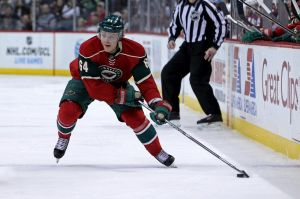 Minnesota Wild centerman Mikael Granlund brings the puck up ice against Colorado.