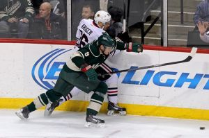Minnesota Wild Captain Mikko Koivu palying both ends of the ice well.
