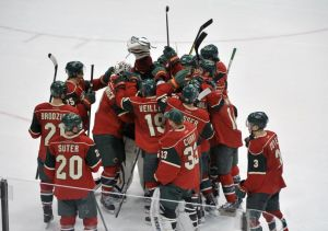 The Minnesota Wild Celebrate their shootout win over the Bruins Tuesday night