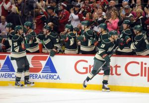 Jason Pominville celebrates his 30th goal of the season for the Minnesota Wild