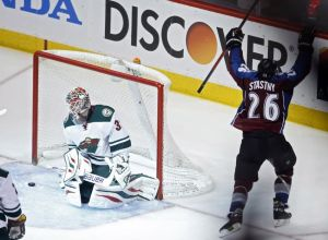 Paul Stastny scores the OT game winner against Minnesota Wild goalie Ilya Bryzgalov.