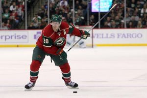 Minnesota Wild defenseman Ryan Suter loads up for a slap shot