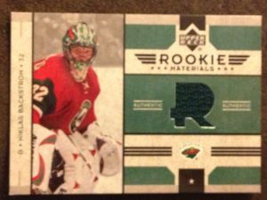 Niklas Backstrom's 2007 Upper Deck Rookie Materials Hockey Card