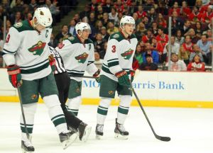 Minnesota Wild players celebrate a goal against the Blackhawks in the 2013-14 regular season