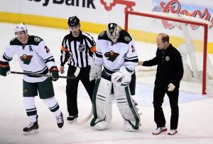 Minnesota Wild goalie Darcy Kuemper leaves the game in the third period due to injury.
