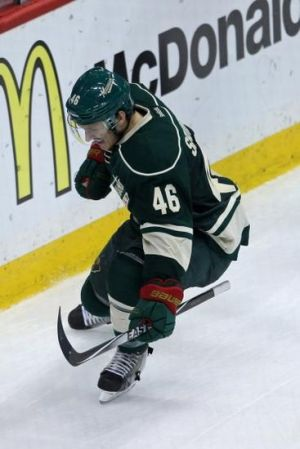 """Minnesota Wild defenseman jared Spurgeon celebrate his third period power play goal against the Blackhawks."