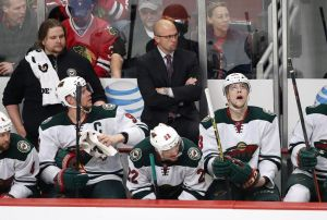 Minnesota Wild HEad Coach Mike Yeo looks on as his team loses game two of the Sr