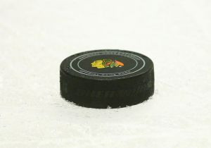 A puck from game five lays on the ice during a furious Minnesota Wild comeback attempt.