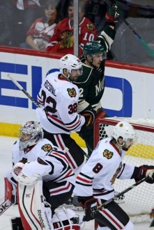 """Minnesota Wild winger Nino Niederreiter celebrate his game winning goal in game four against Chicago"