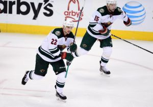 Minnesota Wild forward Nino Niederreiter celebrate this third period goal against Colorado.