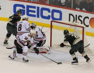 MInnesota Wild forward Jason Pominville just misses on a scoring chance on a wide open net