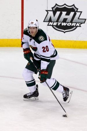 Minnesota Wild defenseman Ryan Suter looks to make a play against the Blackhawks