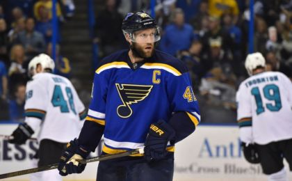 May 15, 2016; St. Louis, MO, USA; St. Louis Blues center David Backes (42) looks on in the game against the San Jose Sharks during the first period in game one of the Western Conference Final of the 2016 Stanley Cup Playoffs at Scottrade Center. Mandatory Credit: Jasen Vinlove-USA TODAY Sports