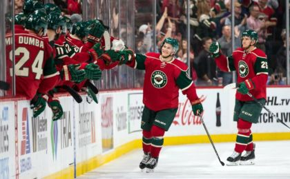 Oct 18, 2016; Saint Paul, MN, USA; Minnesota Wild forward Teemu Pulkkinen (17) celebrates his goal during the second period against the Los Angeles Kings at Xcel Energy Center. Mandatory Credit: Brace Hemmelgarn-USA TODAY Sports