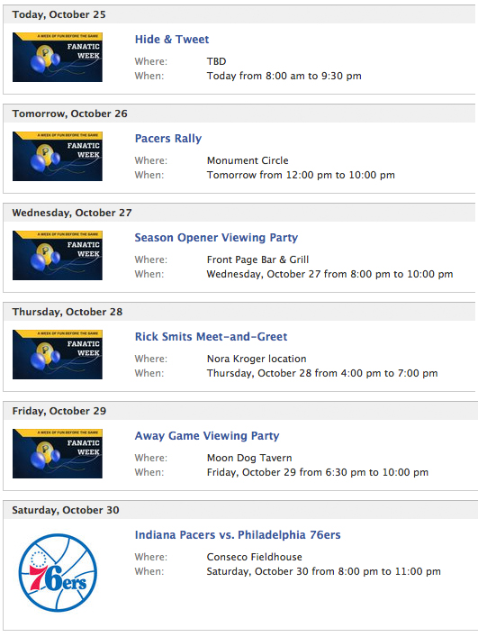 Pacers Schedule