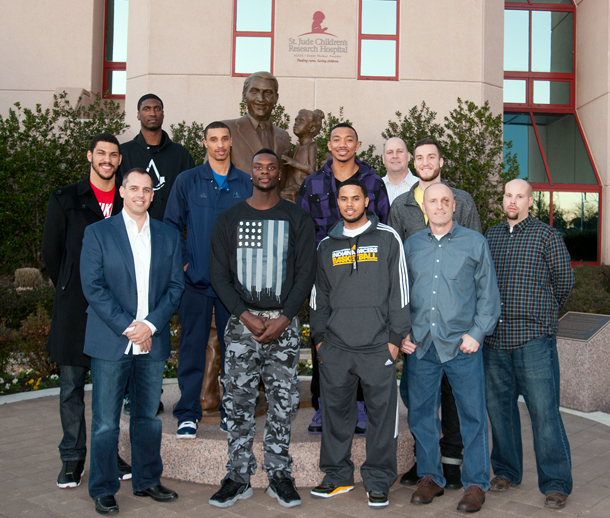 Pacers Players in front of St. Jude