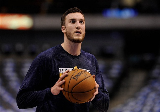 Mar 28, 2013; Dallas, TX, USA; Indiana Pacers power forward Miles Plumlee (13) warms up before the game against the Dallas Mavericks at the American Airlines Center. Mandatory Credit: Jerome Miron-USA TODAY Sports